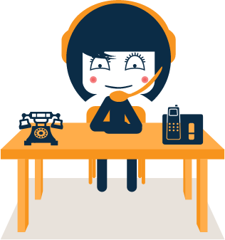 Virtual VIP mascot sitting at a desk