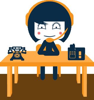 Virtual VIP mascot sitting at a desk